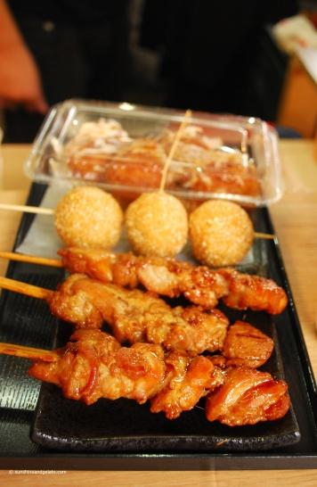 Lunch in Arahiyama - chicken yakitori, goma dango (fried glutinous rice flour balls) and takoyaki.