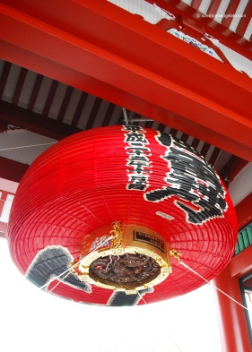Senso-ji's great red lantern was drawn up in preparation for Typhoon Phanfone.