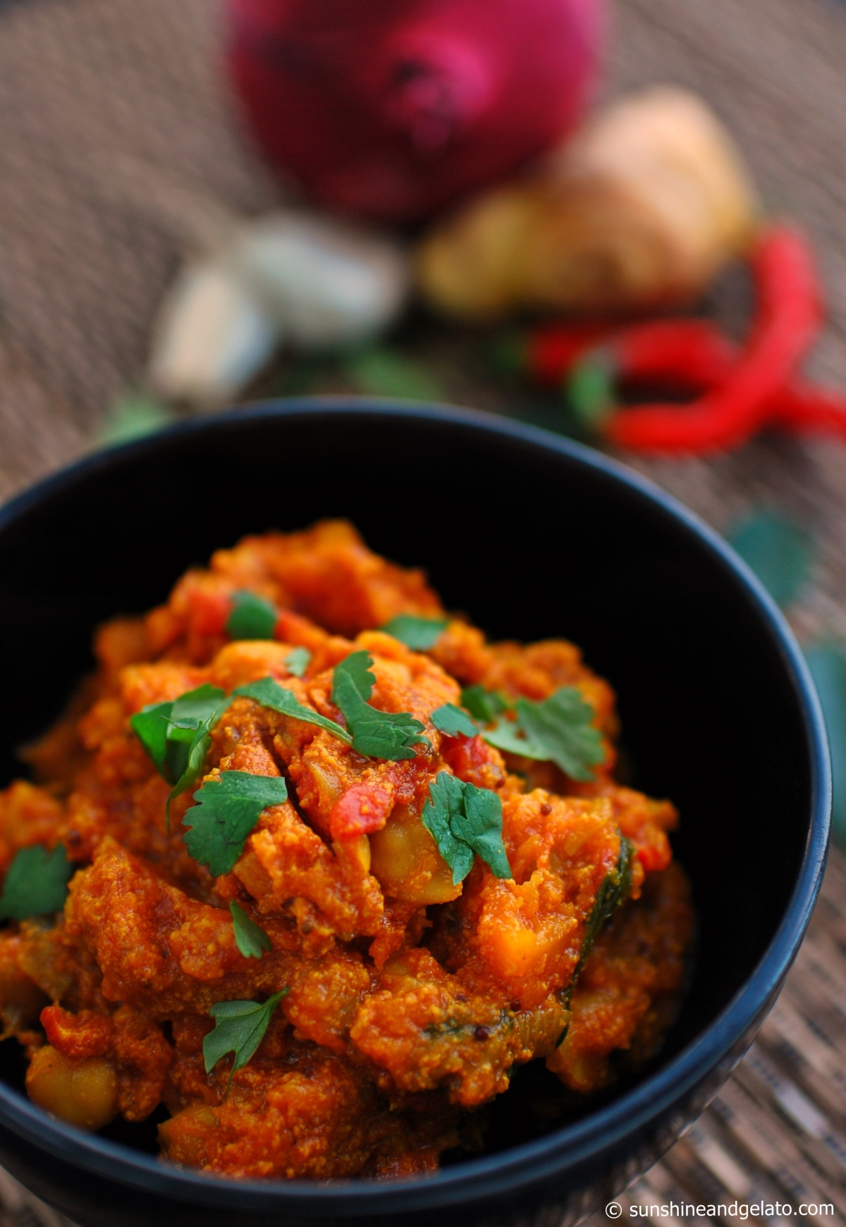 Pumpkin, chickpea and tomato curry