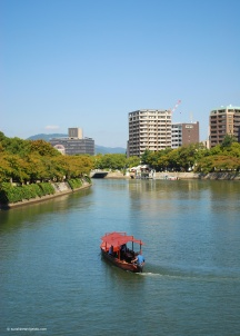 Day 5. We took a shinkansen from Kyoto to Hiroshima. Hiroshima sits on the Ōta River.