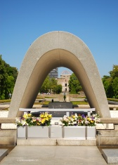 Hiroshima Peace Park, a memorial built in an open field created by the atomic bomb explosion.