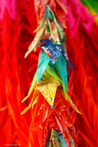 Paper cranes for Sadako. The Children's Peace Monument has a statue of Sadako Sasaki, the little girl who died of leukaemia following radiation. Thousands of paper cranes folded by children all over the world hang outside this monument. In Japanese folklore, folding a thousand paper cranes leads to the granting of your wishes. Sadako's wish was for a world without nuclear weapons and although her classmates helped her, she fell just short of a thousand cranes.