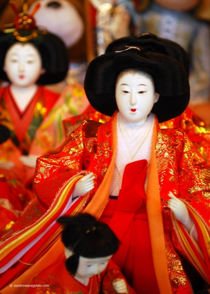 An imperial Hina doll on display at Meijii-jinu.