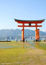 Floating otorii gate outside Itsukushima shrine. When the tide comes in, the gate looks as though it is floating on the water.