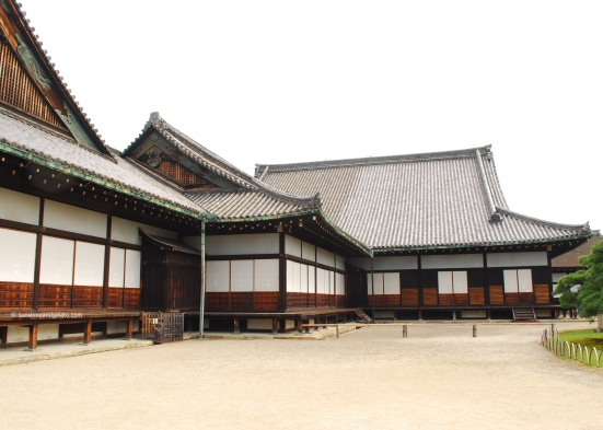 "Ninomaru Palace, which housed the reception chambers and living quarters of the shogun. The walls of each room are richly decorated with gold leaf and wooden carvings (photography is not allowed inside the building). To protect the occupants from surprise attacks, the palace has ""nightingale floors"", wooden floorboards designed to squeak like birds whenever someone walked on them."